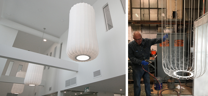 Large scale sprayed PVC membrane / LED lobby lampshades