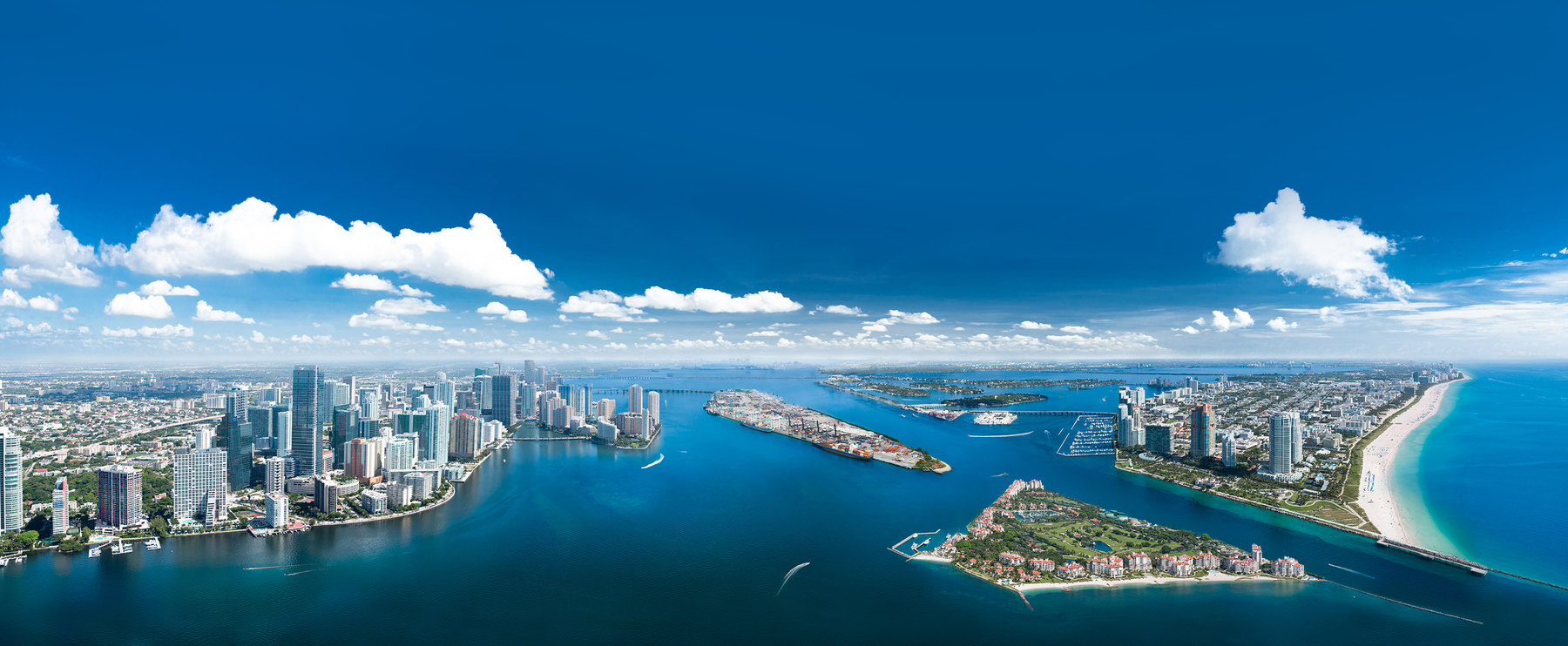 aerial view of Miami Beach and Downtown Miami