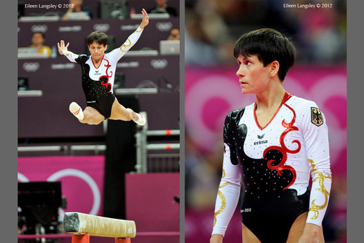 Oksana Chusvitina (Germany) competing on Balance Beam at the Gymnastics competition of the London 2012 Olympic Games.