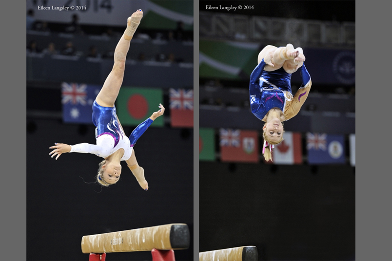 Amy Regan (Scotland) competing on beam during the Gymnastics competition of the 2014 Glasgow Commonwealth Games.