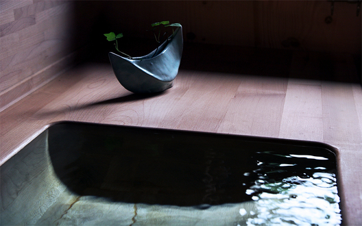 Wooden sink in bathroom, T´s Zero Energy House, Kamakura, Japan.