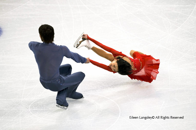 Yuko Kavaguti and Alexander Smirnov (Russia) competing in the Free programme of the Pairs Figure Skating competition at the 2010 Vancouver Winter Olympic Games.