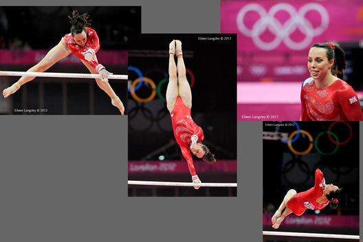 Beth Tweddle (Great Britain) competes on asymmetric bars during the women's team competition at the 2012 London Olympic Games.