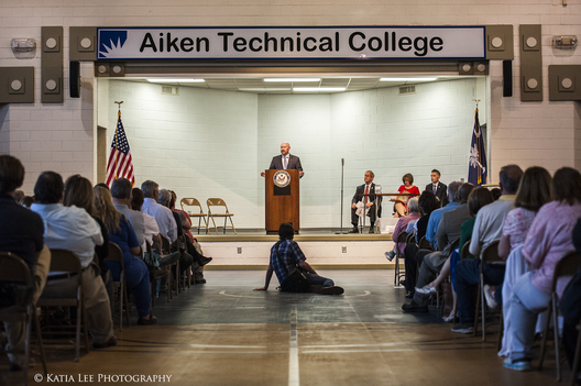 Photographer centers himself at Joe Wilson's Town Hall in Aiken, S.C., 2017