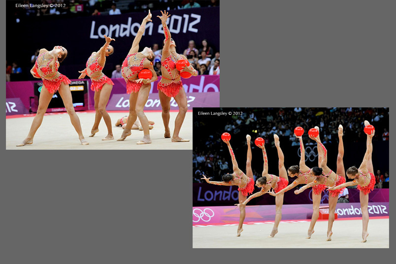 The group from Russia competing with five balls during the Rhythmic Gymnastics competition at the 2012 London Olympic Games.