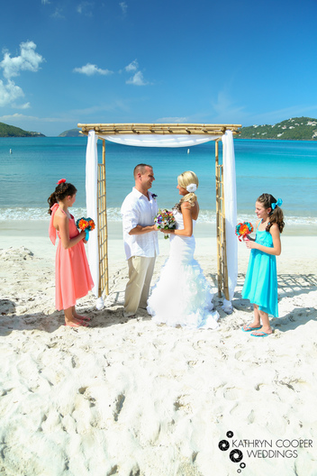 St. Thomas destination wedding photographer on Magens Bay beach