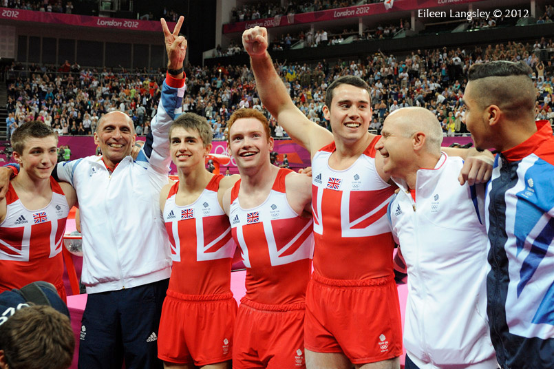 The British men's team celebrate winning the bronze medal at the end of the team competition during the Artistic Gymnastics competition of the London 2012 Olympic Games.