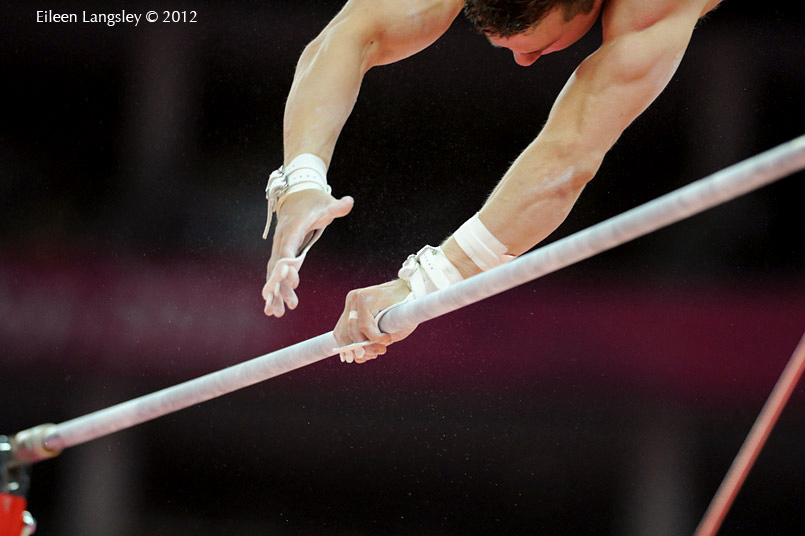 A generic image of the handsof a Jonathan Horton (USA) competing on High Bar during the Artistic Gymnastics competition of the London 2012 Olympic Games.