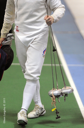 A generic image of the hands of a fencer at the end of the Men's Epee event at the 2011 European Fencing Championships at the English Institute of Sport Sheffield July 18th.