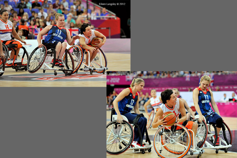 Inge Huitzing (Netherlands) gets to the ball first in their wheelchair basketball match against Great Britain at the London 2012 Paralympic Games.
