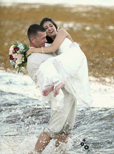 Happy couple eloped in crashing waves on Hans Lollik island USVI