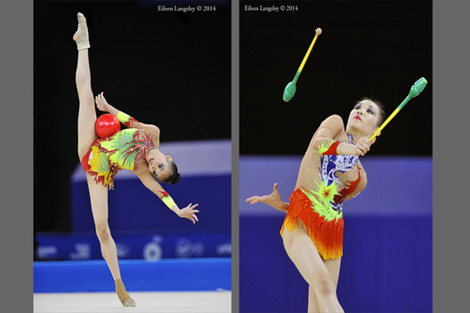 Wong Poh San (Malaysia) competing with Ball during the Rhythmic Gymnastics competitions at the 2014 Glasgow Commonwealth Games.