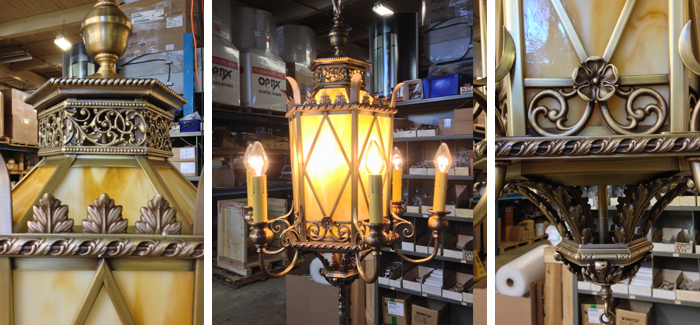 Replication of lost original interior heritage lighting fixtures from photographic evidence. Solid cast brass and artglass construction