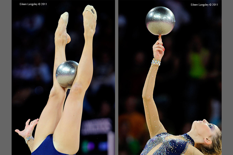 Christalleni Trikomiti (Cyprus) competing with Ball at the World Rhythmic Gymnastics Championships in Montpellier.