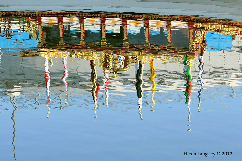 Reflections of the Royal Barge 'Gloriana' moored near the Olympic Stadium in the Olympic Park during the paralympic Games.