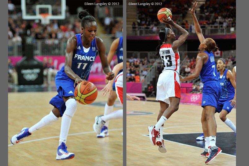 Attacking play from both teams during the women's Basketball match between Canada and France at the 2012 London Olympic Games.