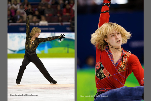 A double image of Artem Borodulin (Russia) competing in the free programme (left) and the short programme (right) of the men's Figure Skating competition of the 2010 Vancouver Winter Olympic Games.