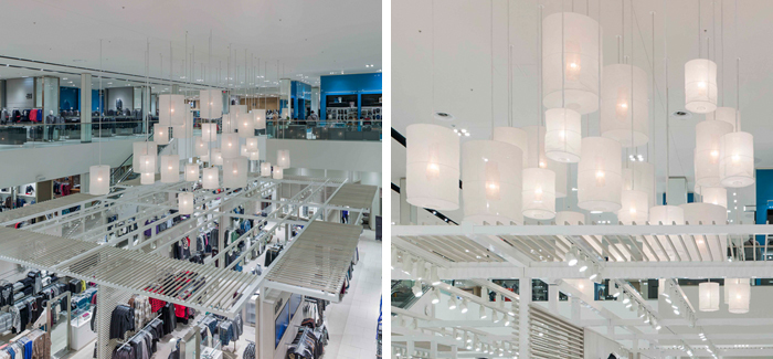Translucent woven fabric, various size multi cylinder shade atrium pendant lighting cluster