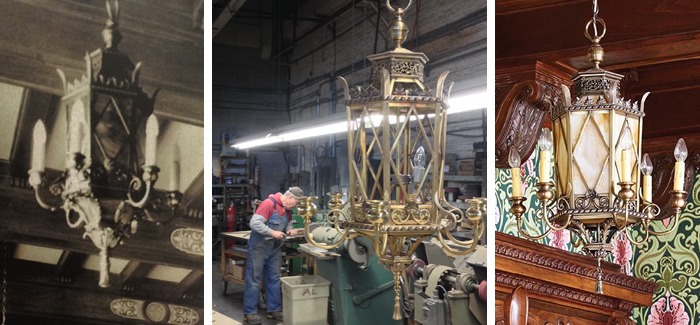 Replication of lost original interior heritage lighting fixtures from photographic evidence (on left). Solid cast brass and artglass construction
