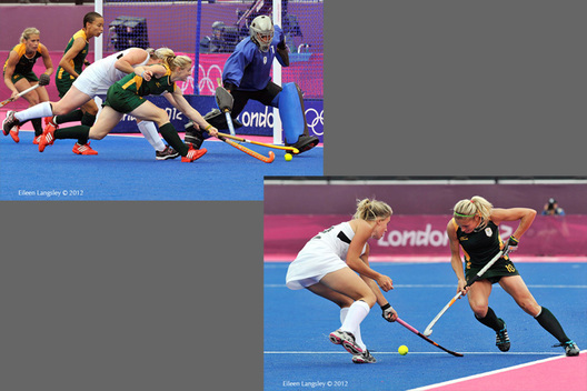 Goal mouth action and Shelley Russell (South Africa) goes in the attack in their match against the New Zealand at the 2012 London Olympic Games.