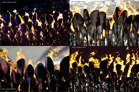 The Paralympic flame burns in the stadium day and night at the London 2012 Paralympic Games.