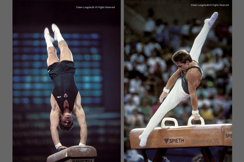 A double image of the outstanding gymnast Vitali Scherbo competing for the Soviet Union/EUN team on Vault and Pommel Horse the 1992 Barcelona Olympic Games.