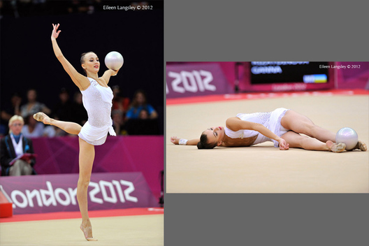 Ganna Rizatdinova (Ukraine) competes with Ball during the Rhythmic Gymnastics event at the 2012 London Olympic Games.