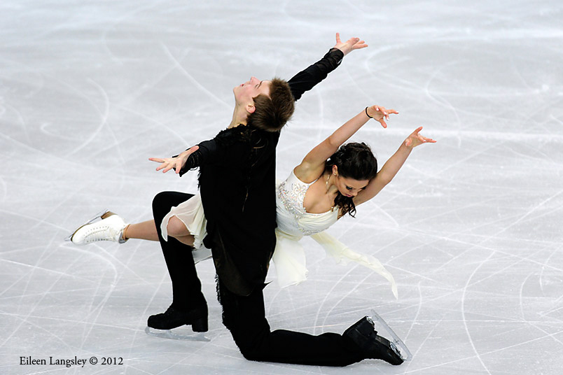 Elena Ilinykh and Nikita Katsalapov (Russia) competing in the Danceevent at the 2012 European Figure Skating Championships at the Motorpoint Arena in Sheffield UK January 23rd to 29th.