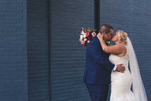 downtown evansville in wedding kiss