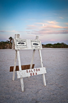 The Salton Sea is the result of a nearby levee rupturing in 1905 and filling up the basin, which lies below sea level.
