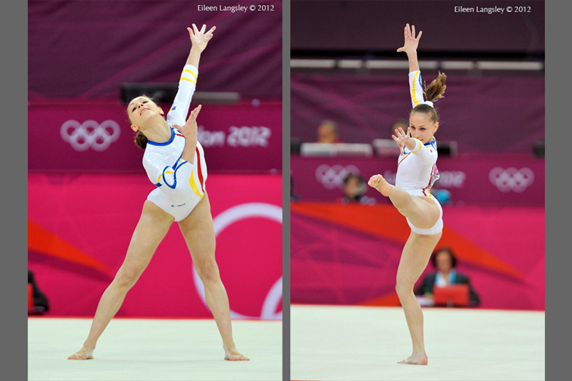 Diane Chelaru (Romania) competes on floor exercise during the women's team competition at the 2012 London Olympic Games.