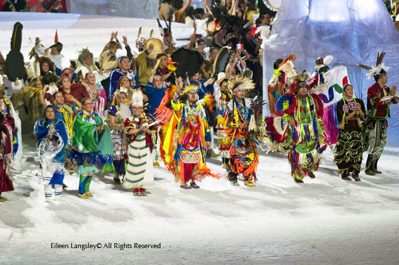 Members of the tribes of the First Nations of Canada welcome the athletes at the Opening Ceremony of the 2010 Winter Olympic games in Vancouver.