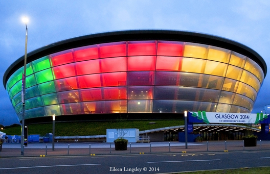The Hydro at night - the venue for the Gymnastics competitions at the 2014 Glasgow Commonwealth Games.