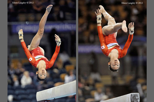 Wakane Inoue (Japan) competing on Balance Beam at the 2012 FIG World Cup in the Emirates Arena