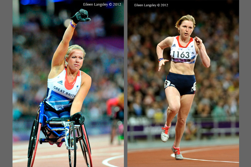 Hannah Cockcroft (Great Britain) wins the 100 T44 metres race left and Hazel Robson in the 200 metres T56 during the Athletics competition at the London 2012 Paralympic Games.