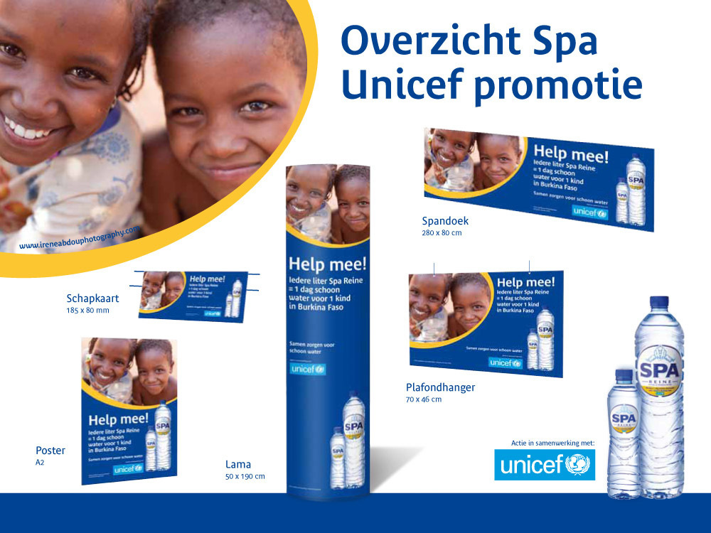 Photograph of two Fulani children in northern Burkina Faso used in a campaign developed for Spa, the Dutch mineral water brand, and UNICEF by Backbone Marketing.  During the 9-week campaign, every liter of Spa purchased by the consumer in the Netherlands helps the children in Burkino Faso, through a donation from Spa to UNICEF for safe water programs.  The photograph was used on 600,000 Spa water bottle sleeves and various point of sale materials shown here.