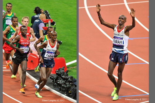 Mo Farrah (Great Britain) leads the 10000 metres at the 2012 London Olympic Games but checks to see if his training partner has made it too.