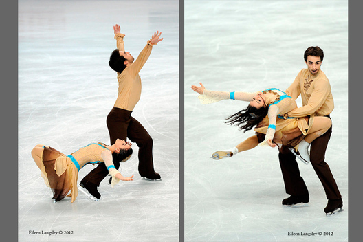 Sara Hurtado and Adria Diaz (Spain) competing in the ice dance event at the 2012 European Figure Skating Championships at the Motorpoint Arena in Sheffield UK January 23rd to 29th.