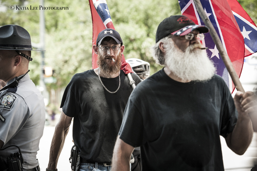 S.C. Secessionist Party raises the Confederate flag on the anniversary of its removal from the State House grounds.  The removal was prompted after a self-proclaimed white supremacist fatally shot nine black church members of Emanuel AME Church in Charleston S.C., July 10, 2017