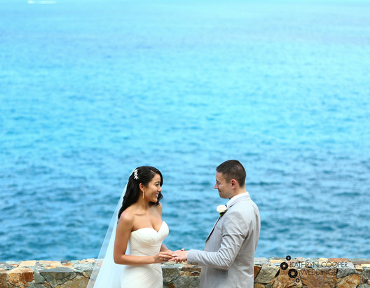 Cruise wedding elopement photographer of couple at Norbu Estate on st. thomas