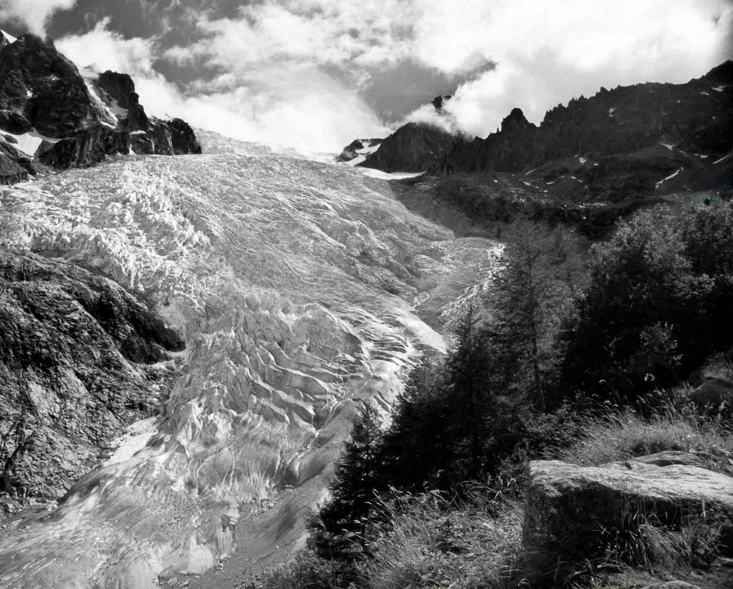 A Haute Route image with a mountain glacier cascading into a valley