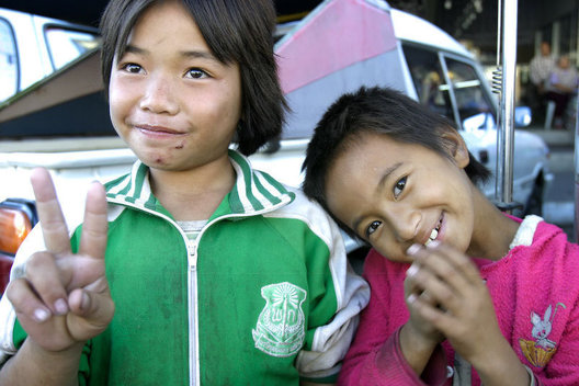 Children begging on the streets of Burma, also known as Myanmar