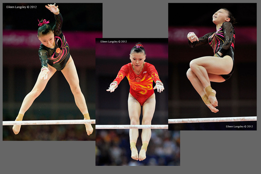 He Kexin (China) winner of the silver medal on asymmetric bars final at the London 2012 Olympic Games.
