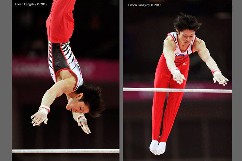 Kohei Uchimura (Japan) winner of the all around competition competing on High Bar during the Men's Artistic Gymnastics competition at the 2012 London Olympic Games.