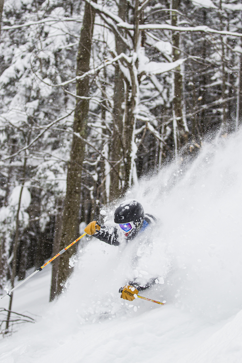 Daniel Hatheway coming up for air on what some locals called the deepest east coast day ever. Red Line, Magic Mountain, Vermont