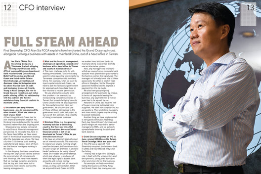 Alan Sia, CFO of First Steamship Company, Taipei, Taiwan