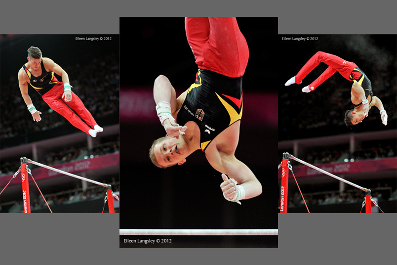 Philip Boy, Fabian Hambuechen and Marcel Nguyen (Germany) competing on High Bar during the Artistic Gymnastics competition of the London 2012 Olympic Games.