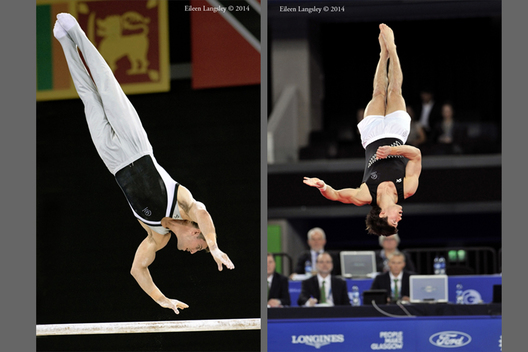 Kristofer Done and David Bishop (New Zealand) competing on Parallel Bars and Floor at the 2014 Glasgow Commonwealth Games.
