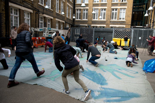 On May 2nd, 2015, Constanza Isaza Martinez, Andres Pantoja, and Melanie King were commissioned by the Wellcome Collection and UCL to make a gigantic cyanotype for their 'On Light' event.