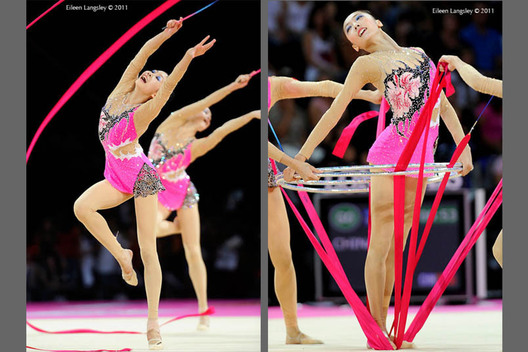 The group from China competing at the World Rhythmic Gymnastics Championships in Montpellier.